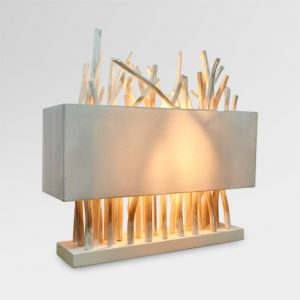 Pattina Wooden Art Table Lamp White