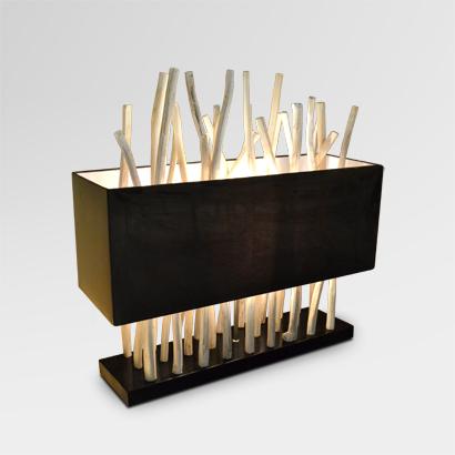 Pattina Wooden Art Table Lamp Black