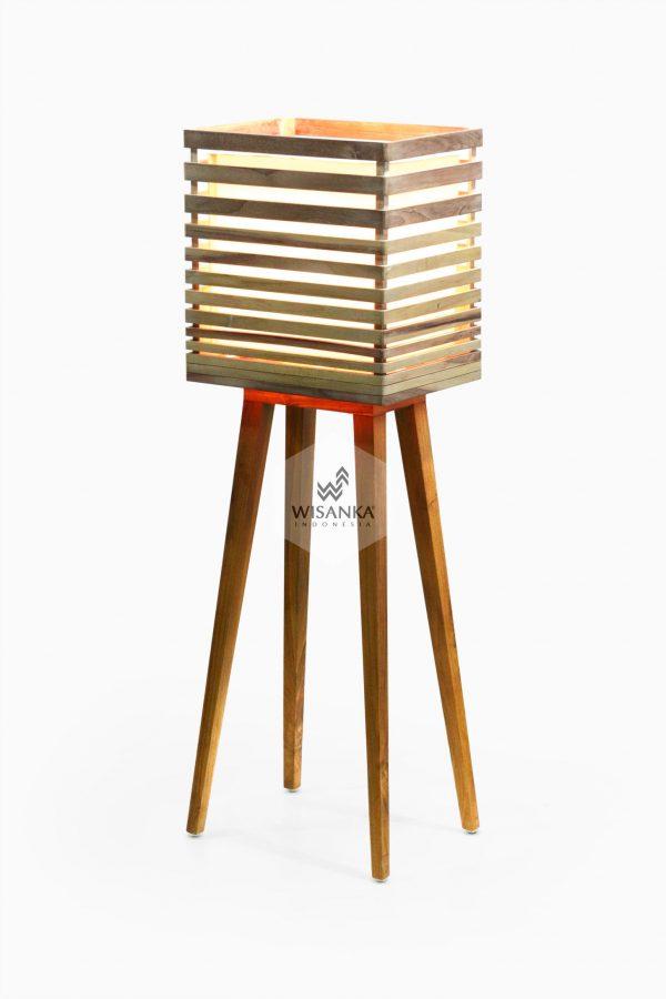 Radio Floor Lamp On | Wooden Floor Lamp | Wooden Home Decor | High Floor Lamp