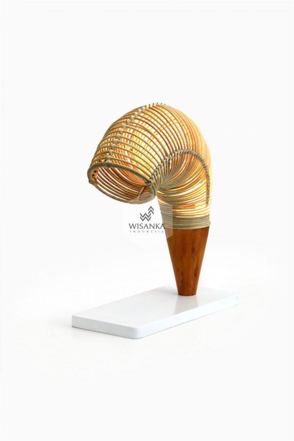 Rebon Table Lamp On | Rattan Table Lamp | Rattan Lamp | Udang Lamp | Shrimp Lamp | Shrimp Table Lamp