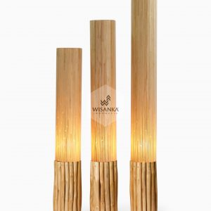 Karo Floor Lamp Set of 3 On | Karo Wooden Floor Lamp On | Karo Rattan Lamp On | Karo Resin Lamp