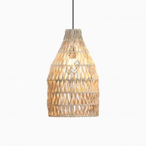 Banda Aru Wicker Hanging Lamp On | Banda Aru Rattan Hanging Lamp On