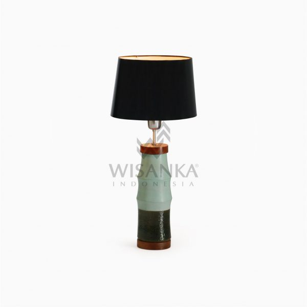 Cory Natural Wooden Resin Table Lamp On