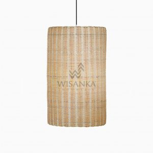 Daisy Rattan Wicker Hanging Lamp On - Large