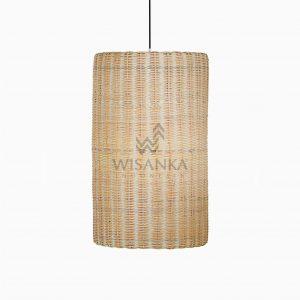 Daisy Rattan Wicker Hanging Lamp On - Large