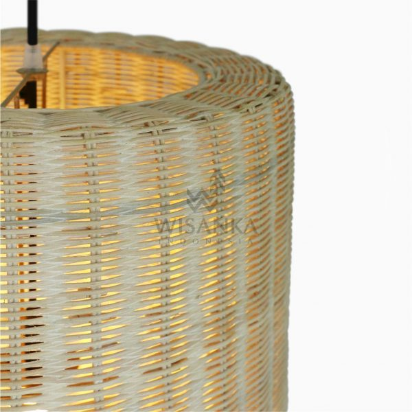 Daisy Rattan Wicker Hanging Lamp On - Large Detail