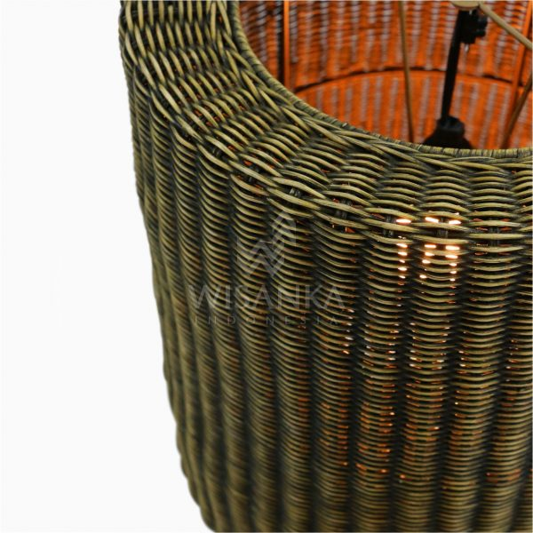 Daisy Rattan Wicker Hanging Lamp On - Small Detail