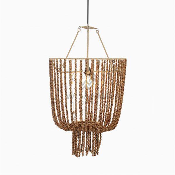 Kayana Wood Beads Pendant Lamp On