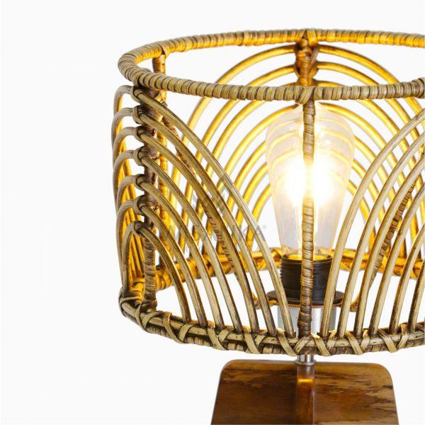 Avani Brown Wash Wicker Rattan Pitrit Wooden Table Lamp Detail