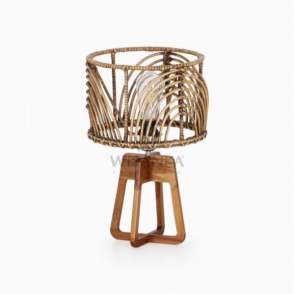 Avani Brown Wash Wicker Rattan Pitrit Wooden Table Lamp Off