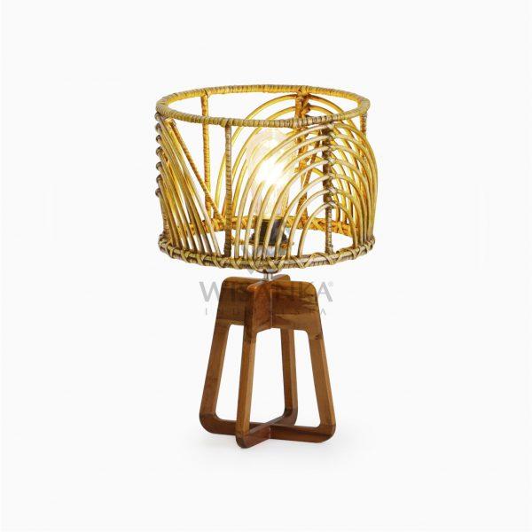 Avani Brown Wash Wicker Rattan Pitrit Wooden Table Lamp On
