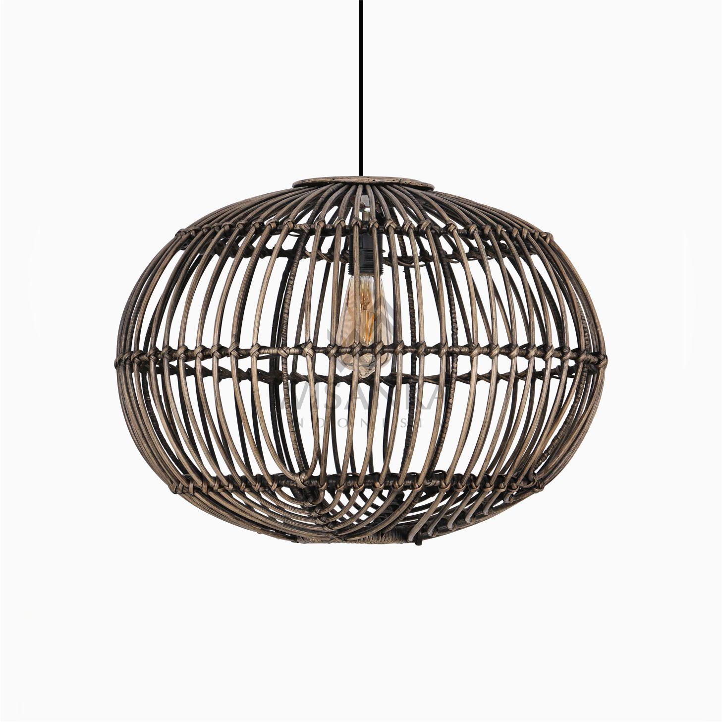 Somerset Rattan Pendant Hanging Lamp Large Black Wash Lamp Decor