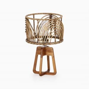 Avani Table Lamp with Pitrit Shade Natural Rattan Lamp off