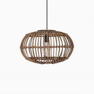 Sommerset Small Brown Wash Hanging Lamp - Natural Rattan Pendant Lamp Off